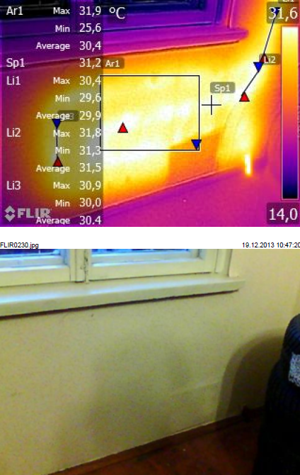 Выявление точки росы, плесени, сырости в стенах. Обследование тепловизором квартиры и дома.